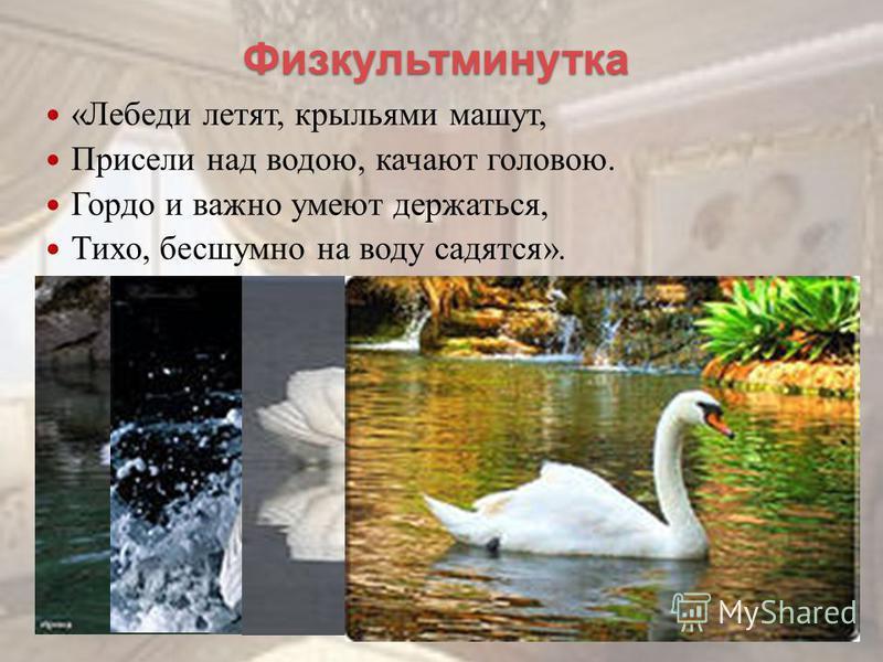 Физкультминутка « Лебеди летят, крыльями машут, Присели н ад в одою, качают головою. Гордо и в ажно умеют держаться, Тихо, бесшумно н а в оду садятся ».