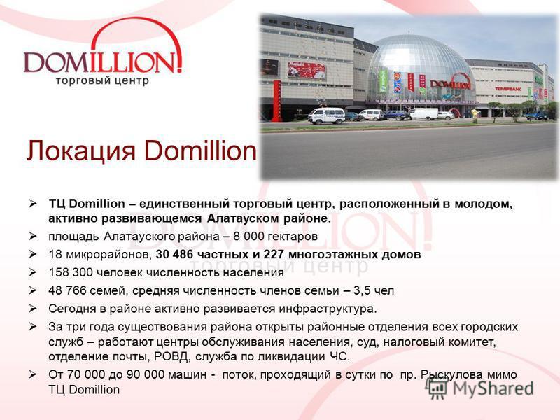 Локация Domillion ТЦ Domillion – единственный торговый центр, расположенный в молодом, активно развивающемся Алатауском районе. площадь Алатауского района – 8 000 гектаров 18 микрорайонов, 30 486 частных и 227 многоэтажных домов 158 300 человек числе