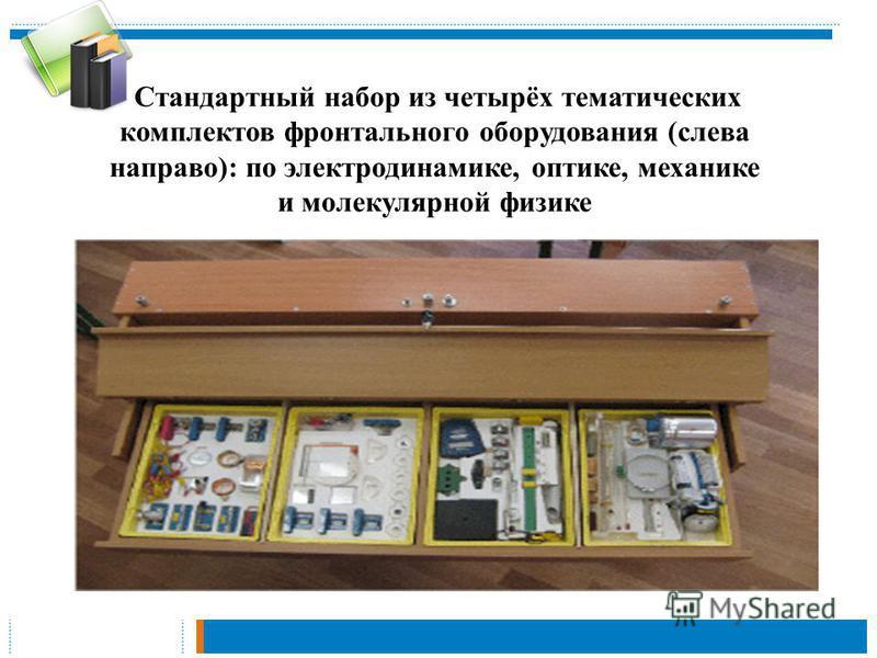 Стандартный набор из четырёх тематических комплектов фронтального оборудования (слева направо): по электродинамике, оптике, механике и молекулярной физике