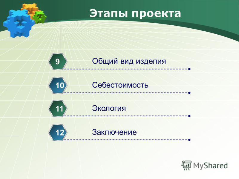 Этапы проекта Общий вид изделия 9 Себестоимость 10 Экология 11 Заключение 12