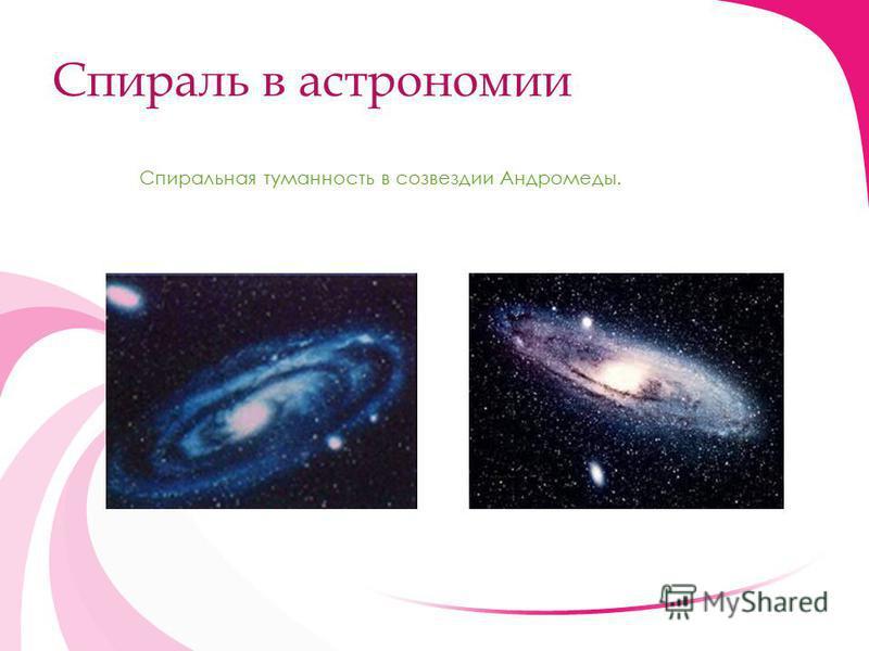 Спираль в астрономии Спиральная туманность в созвездии Андромеды.