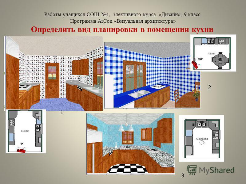 Работы учащихся СОШ 4, элективного курса «Дизайн», 9 класс Программа ArCon «Визуальная архитектура» Определить вид планировки в помещении кухни 1 2 3