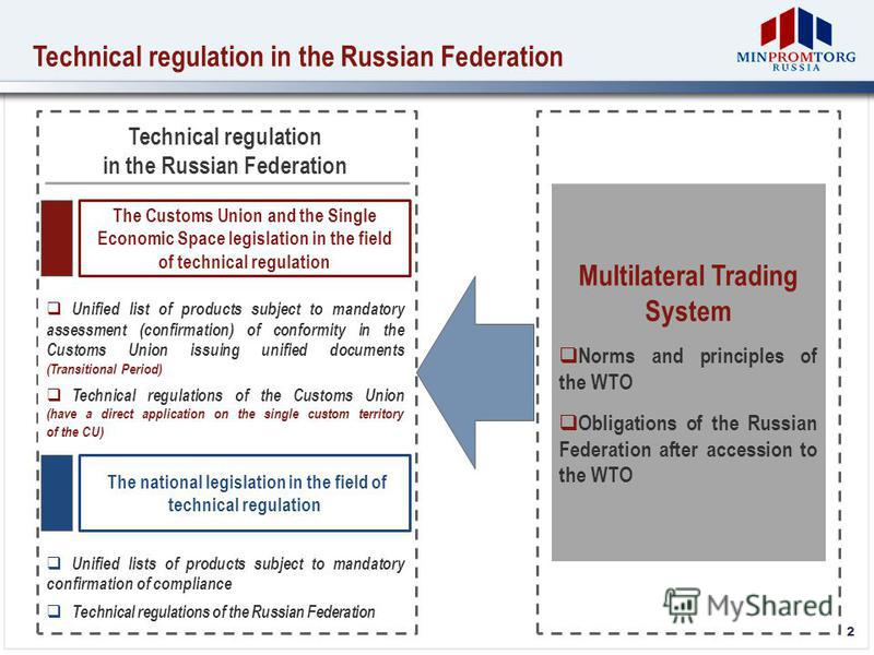2 Technical regulation in the Russian Federation Technical regulation in the Russian Federation The Customs Union and the Single Economic Space legislation in the field of technical regulation The national legislation in the field of technical regula