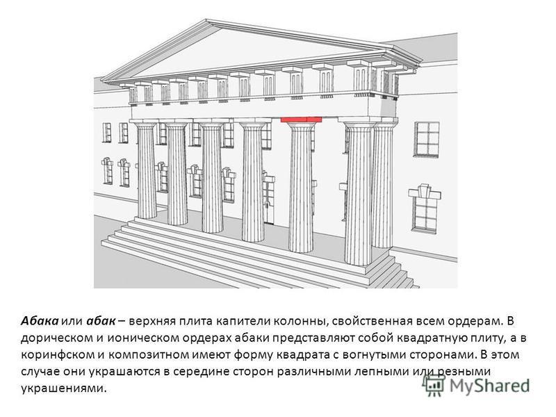 Абака или абак – верхняя плита капители колонны, свойственная всем ордерам. В дорическом и ионическом ордерах абаки представляют собой квадратную плиту, а в коринфском и композитном имеют форму квадрата с вогнутыми сторонами. В этом случае они украша