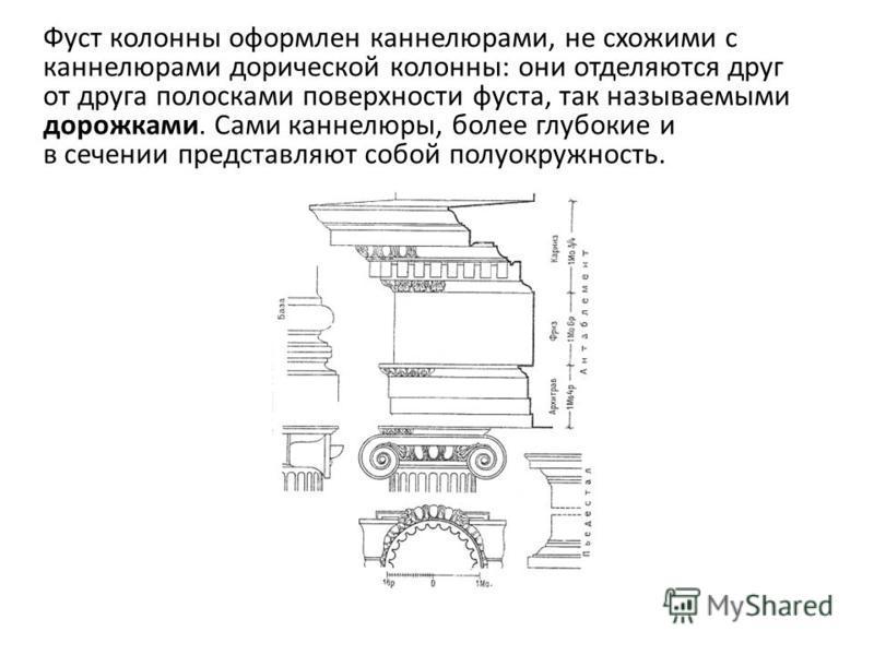 Фуст колонны оформлен каннелюрами, не схожими с каннелюрами дорической колонны: они отделяются друг от друга полосками поверхности фуста, так называемыми дорожками. Сами каннелюры, более глубокие и в сечении представляют собой полуокружность.