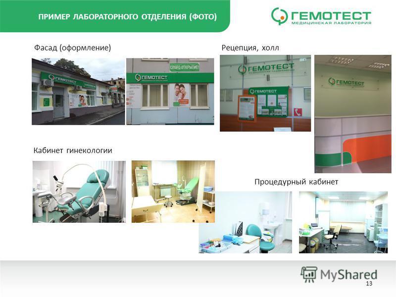 ПРИМЕР ЛАБОРАТОРНОГО ОТДЕЛЕНИЯ (ФОТО) Фасад (оформление) Процедурный кабинет Кабинет гинекологии Рецепция, холл 13