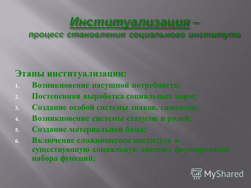 Этапы институализации : 1. Возникновение насущной потребности ; 2. Постепенная выработка социальных норм ; 3. Создание особой системы знаков, символов ; 4. Возникновение системы статусов и ролей ; 5. Создание материальной базы ; 6. Включение сложивше