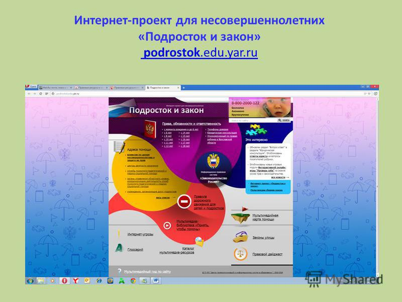 Интернет-проект для несовершеннолетних «Подросток и закон» podrostok.edu.yar.ru podrostok.edu.yar.ru