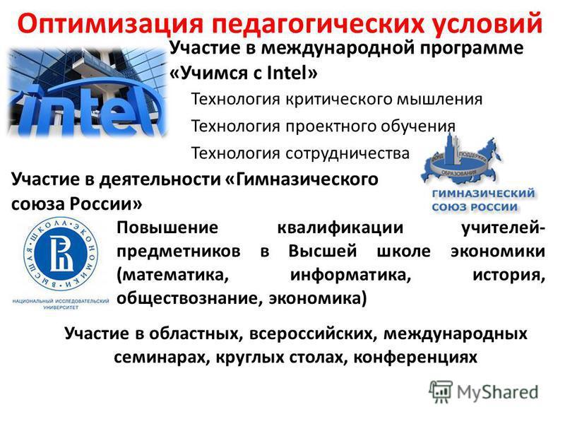 Оптимизация педагогических условий Участие в международной программе «Учимся с Intel» Участие в деятельности «Гимназического союза России» Технология критического мышления Технология проектного обучения Технология сотрудничества Повышение квалификаци