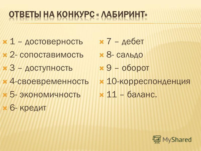 1 – достоверность 2- сопоставимость 3 – доступность 4-своевременность 5- экономичность 6- кредит 7 – дебет 8- сальдо 9 – оборот 10-корреспонденция 11 – баланс.