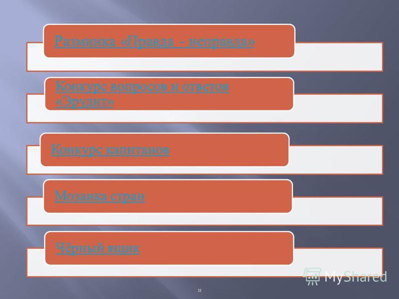 Разминка «Правда - неправда» Конкурс вопросов и ответов «Эрудит» Конкурс капитанов Мозаика стран Чёрный ящик и