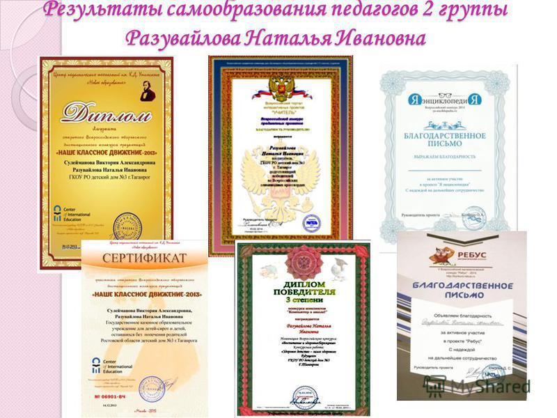 Результаты самообразования педагогов 2 группы Разувайлова Наталья Ивановна