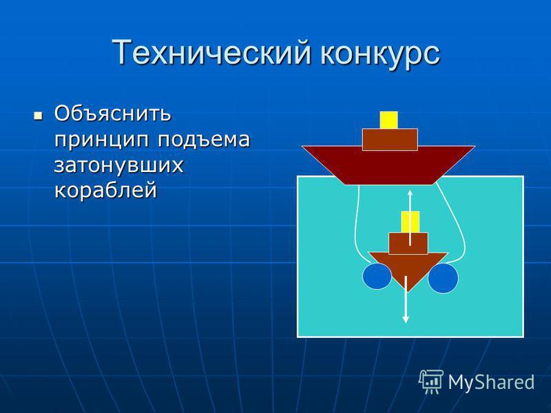 Технический конкурс Объяснить принцип подъема затонувших кораблей Объяснить принцип подъема затонувших кораблей