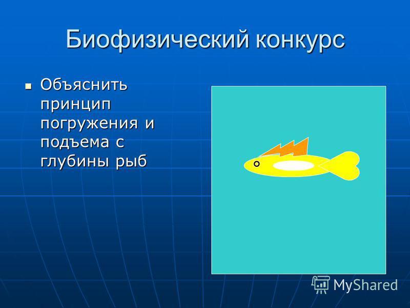 Биофизический конкурс Объяснить принцип погружения и подъема с глубины рыб Объяснить принцип погружения и подъема с глубины рыб