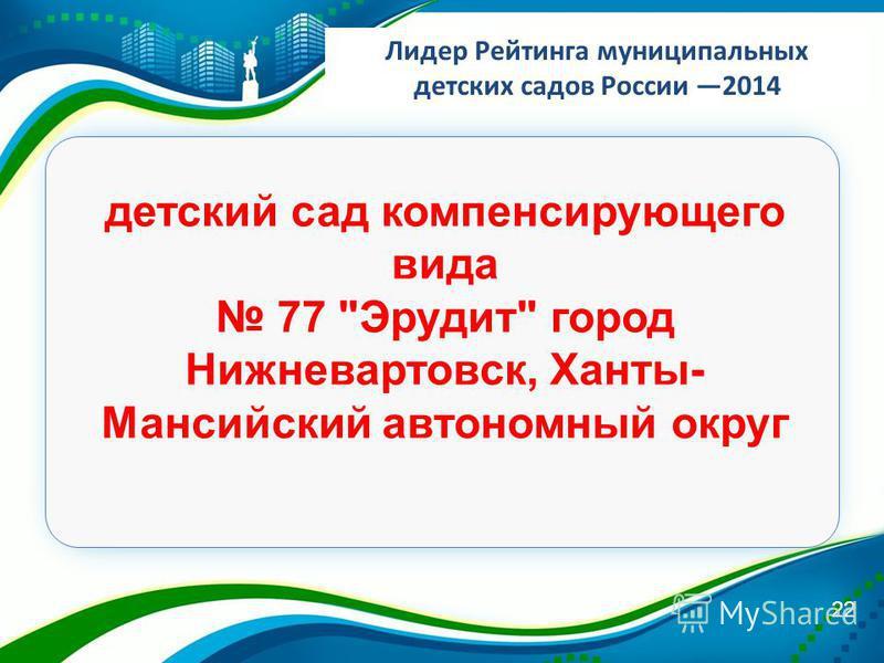 Лидер Рейтинга муниципальных детских садов России 2014 22 детский сад компенсирующего вида 77 Эрудит город Нижневартовск, Ханты- Мансийский автономный округ