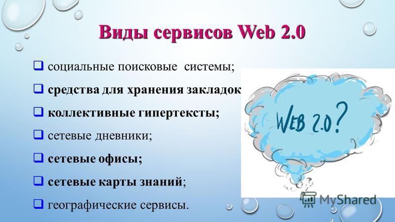 социальные поисковые системы; средства для хранения закладок; коллективные гипертексты; сетевые дневники; сетевые офисы; сетевые карты знаний; географические сервисы. Виды сервисов Web 2.0