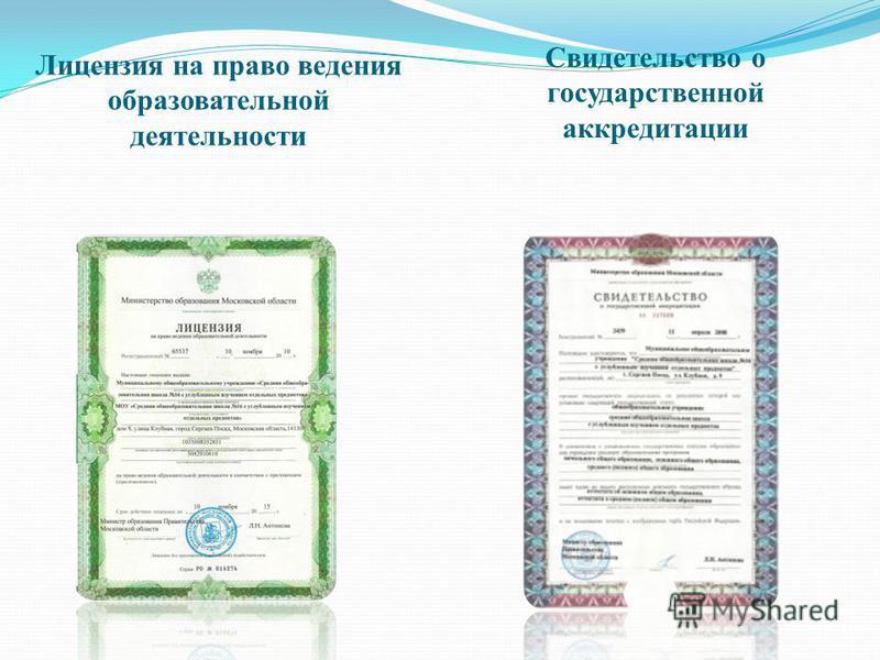 Лицензия на право ведения образовательной деятельности Свидетельство о государственной аккредитации