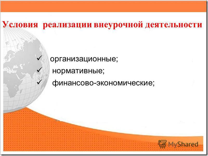 Условия реализации внеурочной деятельности организационные; нормативные; финансово-экономические;