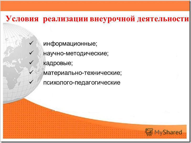 Условия реализации внеурочной деятельности информационные; научно-методические; кадровые; материально-технические; психолого-педагогические