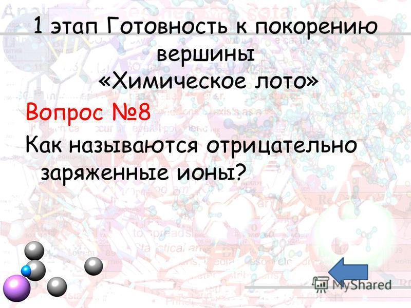1 этап Готовность к покорению вершины «Химическое лото» Вопрос 8 Как называются отрицательно заряженные ионы?