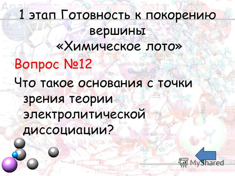 1 этап Готовность к покорению вершины «Химическое лото» Вопрос 12 Что такое основания с точки зрения теории электролитической диссоциации?