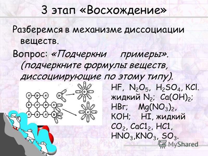 3 этап «Восхождение» Разберемся в механизме диссоциации веществ. Вопрос: «Подчеркни примеры». (подчеркните формулы веществ, диссоциирующие по этому типу). HF, N 2 O 5, Н 2 SО 4, КСl. жидкий N 2 ; Са(ОН) 2 ; НВг; Mg(NO 3 ) 2, КОН; HI, жидкий СО 2, СаС