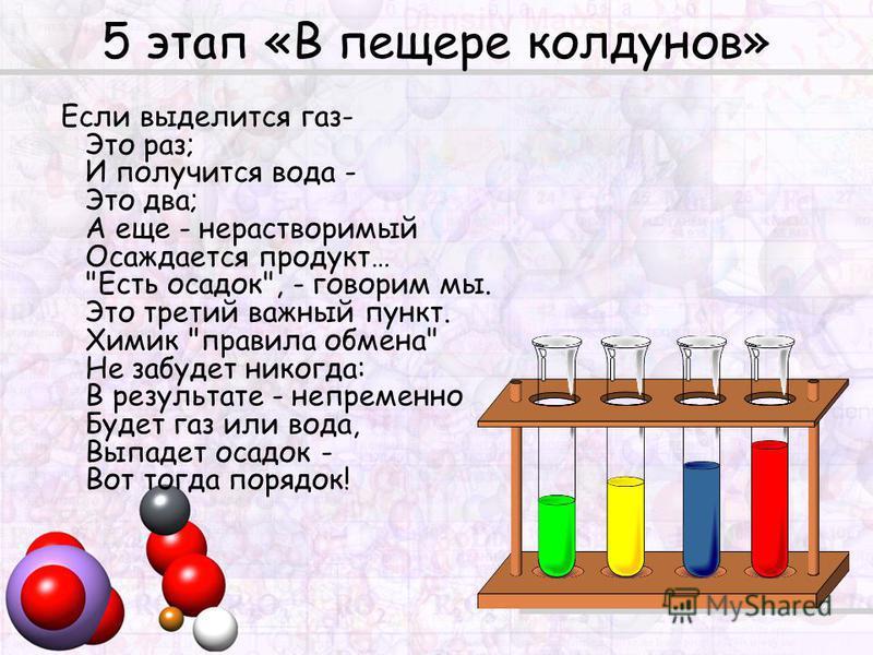 5 этап «В пещере колдунов» Если выделится газ- Это раз; И получится вода - Это два; А еще - нерастворимый Осаждается продукт…