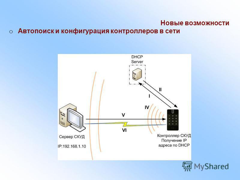 Новые возможности o Автопоиск и конфигурация контроллеров в сети