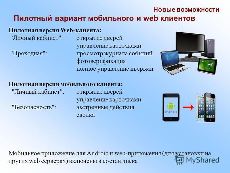Новые возможности Пилотный вариант мобильного и web клиентов Пилотная версия Web-клиента: