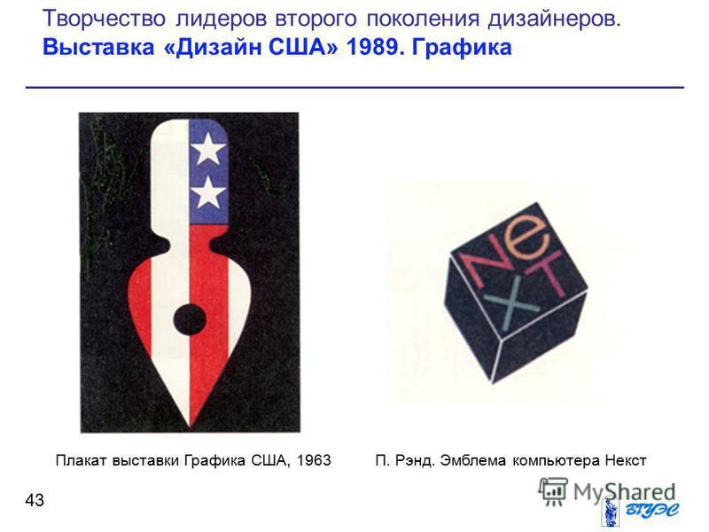 43 Творчество лидеров второго поколения дизайнеров. Выставка «Дизайн США» 1989. Графика Плакат выставки Графика США, 1963П. Рэнд. Эмблема компьютера Некст