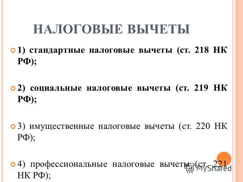 НАЛОГОВЫЕ ВЫЧЕТЫ 1) стандартные налоговые вычеты (ст. 218 НК РФ); 2) социальные налоговые вычеты (ст. 219 НК РФ); 3) имущественные налоговые вычеты (ст. 220 НК РФ); 4) профессиональные налоговые вычеты (ст. 221 НК РФ);