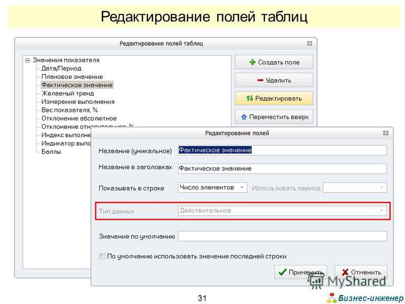 Бизнес-инженер 31 Редактирование полей таблиц