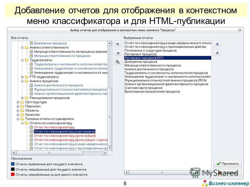 Бизнес-инженер 6 Добавление отчетов для отображения в контекстном меню классификатора и для HTML-публикации