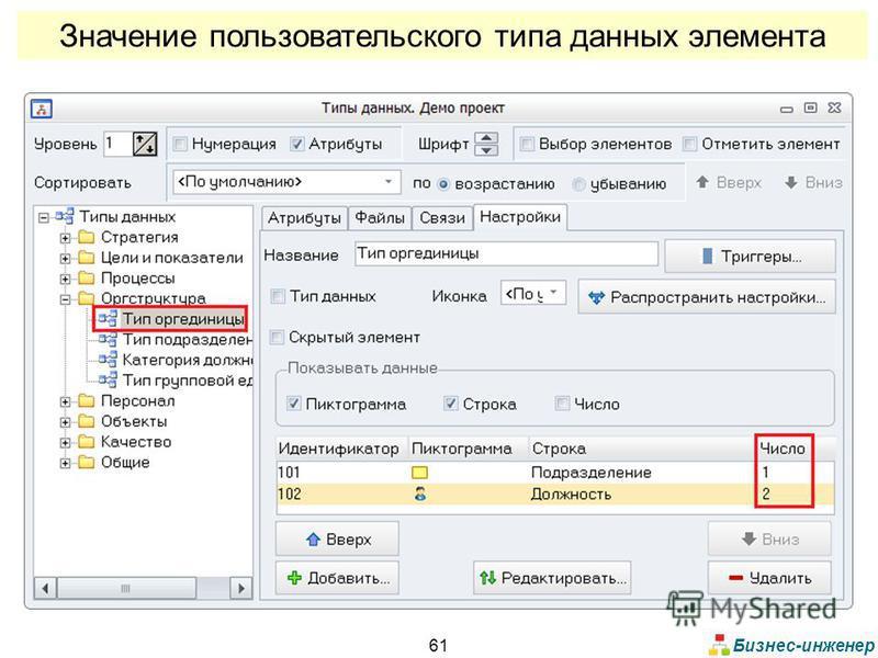 Бизнес-инженер 61 Значение пользовательского типа данных элемента