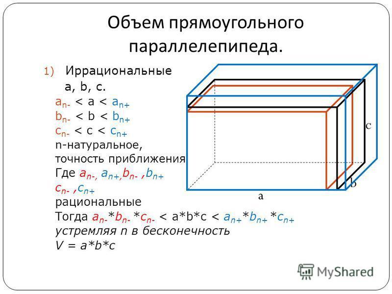 Объем прямоугольного параллелепипеда. 1) Иррациональные а, b, c. a n- < а < a n+ b n- < b < b n+ c n- < c < c n+ n-натуральное, точность приближения Где a n-, a n+, b n-,b n+ c n-,c n+ рациональные Тогда a n- *b n- *c n- < a*b*c < a n+ *b n+ *c n+ ус