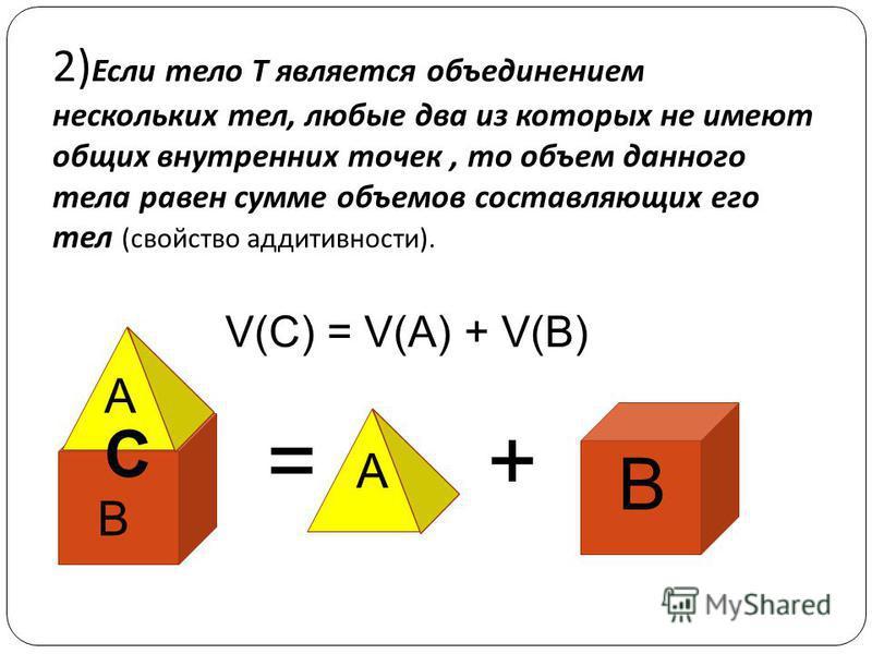 2) Если тело Т является объединением нескольких тел, любые два из которых не имеют общих внутренних точек, то объем данного тела равен сумме объемов составляющих его тел ( свойство аддитивности ). =+ V(C) = V(A) + V(B) B B A A C