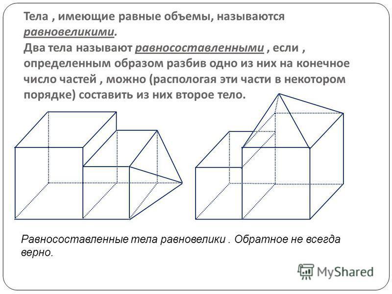 Тела, имеющие равные объемы, называются равновеликими. Два тела называют равносоставленными, если, определенным образом разбив одно из них на конечное число частей, можно ( располагая эти части в некотором порядке ) составить из них второе тело. Равн