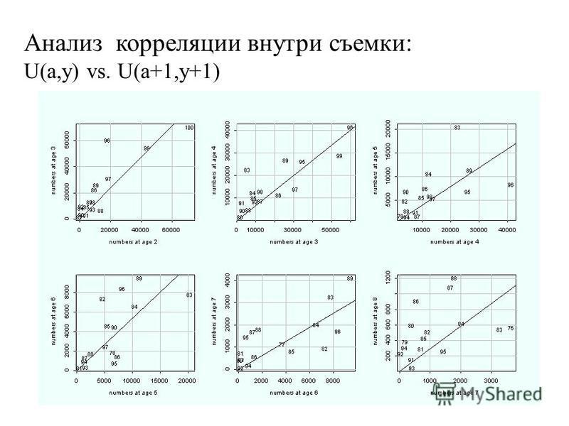 Анализ корреляции внутри съемки: U(a,y) vs. U(a+1,y+1)