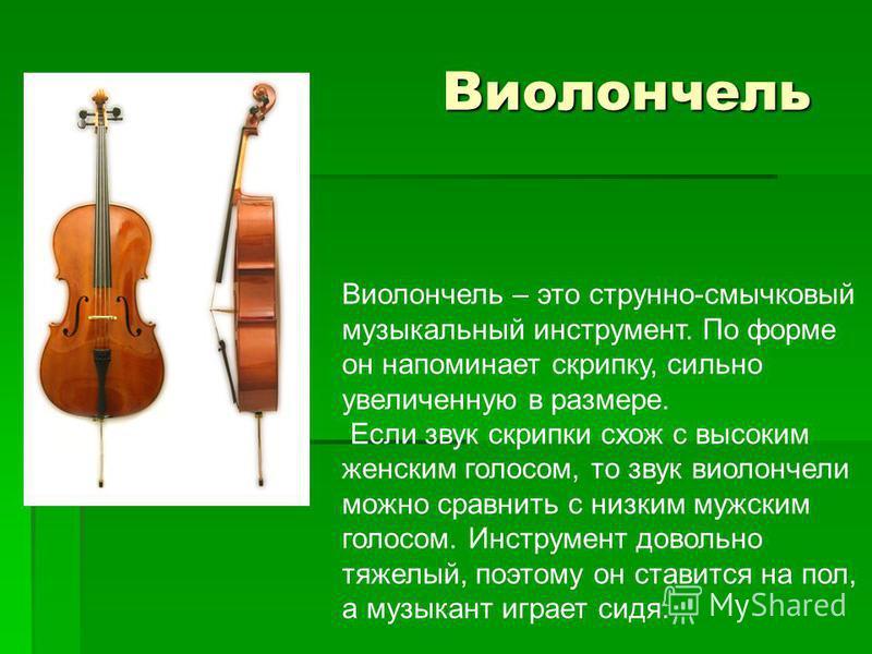 Виолончель Виолончель Виолончель – это струнно-смычковый музыкальный инструмент. По форме он напоминает скрипку, сильно увеличенную в размере. Если звук скрипки схож с высоким женским голосом, то звук виолончели можно сравнить с низким мужским голосо