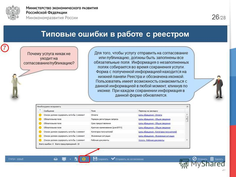 37 Типовые ошибки в работе с реестром 7 Почему услуга никак не уходит на согласование/публикацию? Для того, чтобы услугу отправить на согласование или публикацию, должны быть заполнены все обязательные поля. Информация о незаполненных полях собираетс