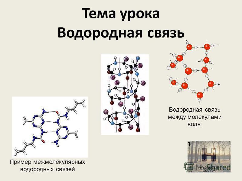 Тема урока Водородная связь Пример межмолекулярных водородных связей Водородная связь между молекулами воды