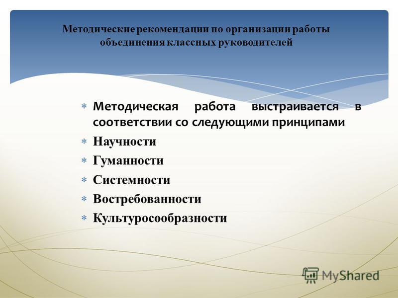 Методические рекомендации по организации работы объединения классных руководителей Методическая работа выстраивается в соответствии со следующими принципами Научности Гуманности Системности Востребованности Культуросообразности