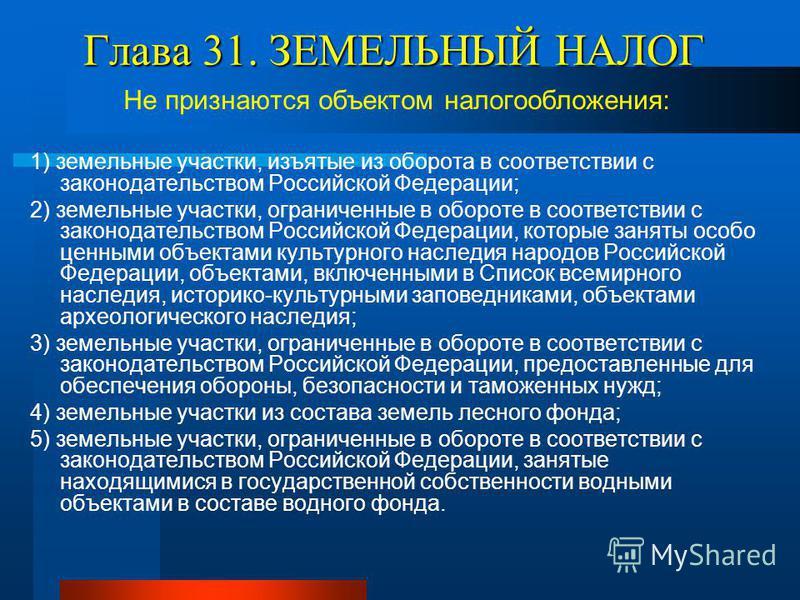 Глава 31. ЗЕМЕЛЬНЫЙ НАЛОГ Не признаются объектом налогообложения: 1) земельные участки, изъятые из оборота в соответствии с законодательством Российской Федерации; 2) земельные участки, ограниченные в обороте в соответствии с законодательством Россий