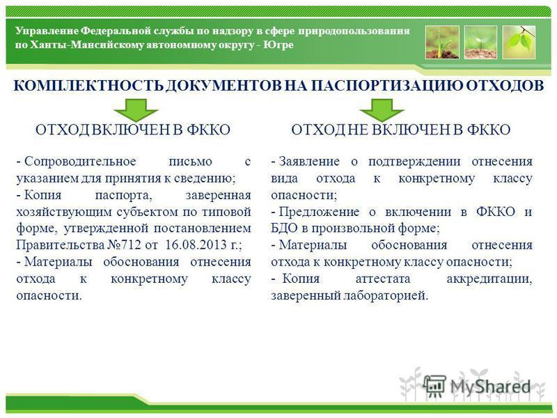 Управление Федеральной службы по надзору в сфере природопользования по Ханты-Мансийскому автономному округу - Югре КОМПЛЕКТНОСТЬ ДОКУМЕНТОВ НА ПАСПОРТИЗАЦИЮ ОТХОДОВ ОТХОД ВКЛЮЧЕН В ФККО - Сопроводительное письмо с указанием для принятия к сведению; -