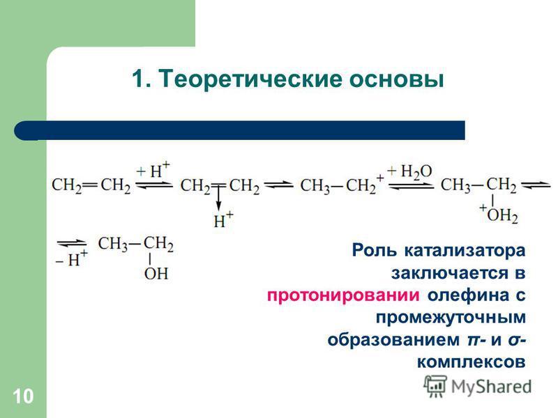 Роль катализатора заключается в протонировании олефина с промежуточным образованием π- и σ- комплексов 10 1. Теоретические основы