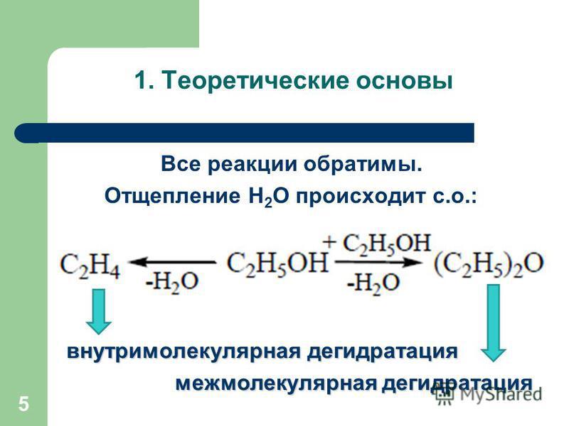 Все реакции обратимы. Отщепление Н 2 О происходит с.о.: 5 1. Теоретические основы внутримолекулярная дегидратация межмолекулярная дегидратация