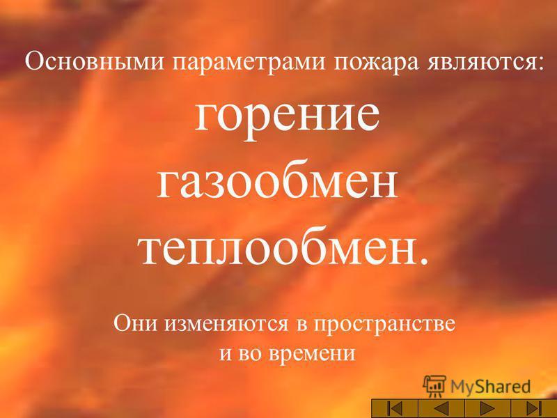 Основными параметрами пожара являются: горение газообмен теплообмен. Они изменяются в пространстве и во времени