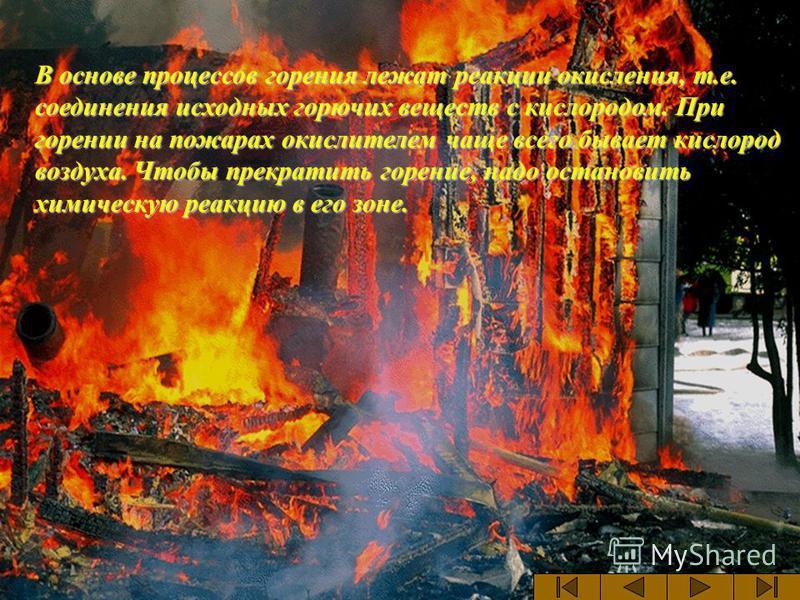 В основе процессов горения лежат реакции окисления, т.е. соединения исходных горючих веществ с кислородом. При горении на пожарах окислителем чаще всего бывает кислород воздуха. Чтобы прекратить горение, надо остановить химическую реакцию в его зоне.