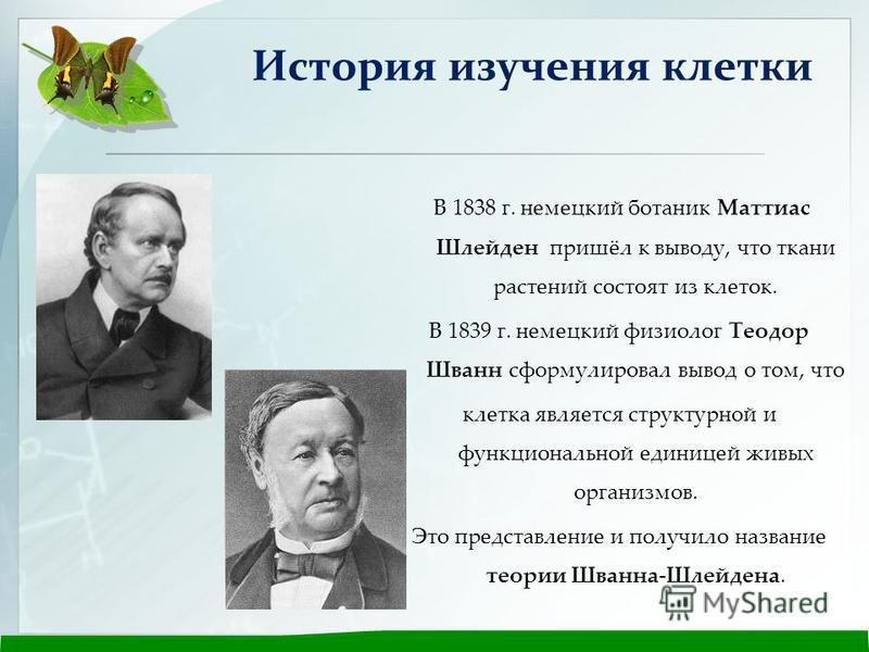 В 1838 г. немецкий ботаник Маттиас Шлейден пришёл к выводу, что ткани растений состоят из клеток. В 1839 г. немецкий физиолог Теодор Шванн сформулировал вывод о том, что клетка является структурной и функциональной единицей живых организмов. Это пред