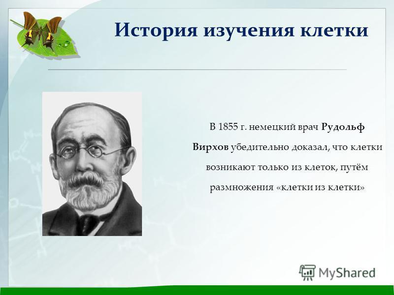 В 1855 г. немецкий врач Рудольф Вирхов убедительно доказал, что клетки возникают только из клеток, путём размножения «клетки из клетки» История изучения клетки